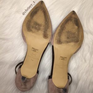 "46486ba4f9d Ann Taylor Shoes - ANN TAYLOR ""Wendy"" taupe suede ankle strap heels"